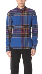 Scotch And Soda Multi Check Long Sleeve Shirt Blue