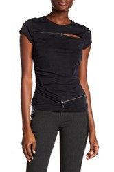 Nicole Miller Shirred Zipper Tee Black