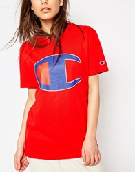 Champion Oversized Boyfriend T Shirt With Retro Oversized Logo Red
