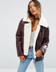 Asos Faux Leather Padded Jacket With Aviator Styling And Borg Liner Berry Red