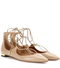 Aquazzura Christy Flat Leather Ballerinas Beige
