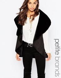New Look Petite Faux Shearling Waterfall Gilet Black