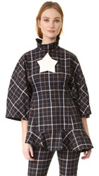 A.W.A.K.E. Oversized Sleeve Fitted Top Plaid Navy Check