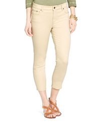 Lauren Ralph Lauren Petite Super Stretch Classic Straight Cropped Cream Wash Jeans Natural