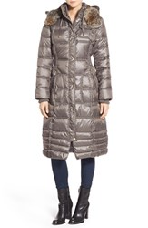 Women's Laundry By Design Quilted Coat With Faux Fur Lined Hood Smokey Grey