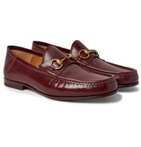 Gucci Easy Roos Horsebit Collapsible Heel Leather Loafers Burgundy