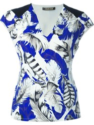 Roberto Cavalli Feather Print V Neck T Shirt Blue