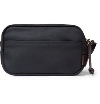 Filson Leather Trimmed Cotton Canvas Wash Bag Navy