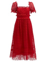 Self Portrait Hibiscus Flower Guipure Lace Midi Dress Red