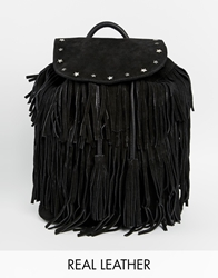 Maison Scotch Leather Tassle Backpack Black