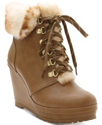 Nanette Lepore By Malee Wedge Booties Women's Shoes Tan
