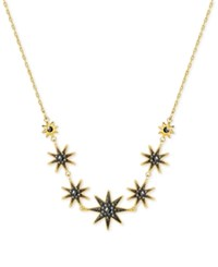 Swarovski Gold Tone Firework Black Crystal Necklace