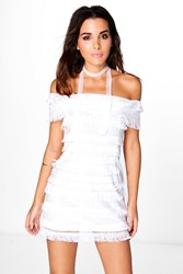 Boohoo Boutique Bianca Fringe And Sequin Bodycon Dress Ivory