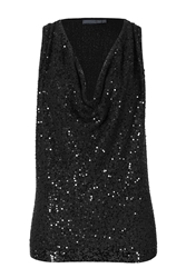Donna Karan Sequined Cashmere Cowl Neck Top