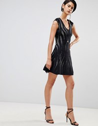 Forever Unique Textured A Line Dress Black