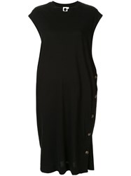 Bassike Side Placket T Shirt Dress Black