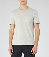 Reiss Bernie Mens Cotton And Linen T Shirt In Blue