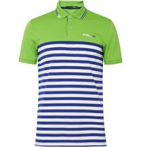 Rlx Ralph Lauren Striped Stretch Pique Polo Shirt Green