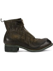 Guidi Zip Up Distressed Boots Brown