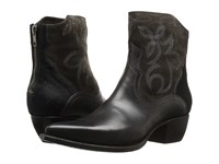 Frye Shane Embroidered Short Charcoal Smooth Veg Calf Oiled Suede Haircalf Cowboy Boots Black