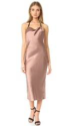 Fleur Du Mal Cowl Neck Bias Slip Dress Tan