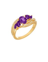 Lord And Taylor Andin Amethyst Diamond 14K Yellow Gold Ring Purple