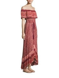 Nightcap Clothing Samba Off The Shoulder Gown Sunrise Print