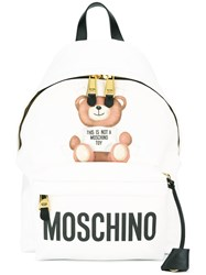 Moschino Paper Doll Bear Backpack White