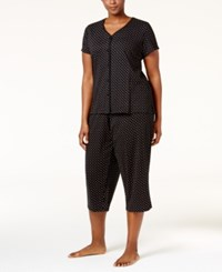 Charter Club Plus Size Loop Trimmed Top And Cropped Pants Pajama Set Only At Macy's Black Duo Dot