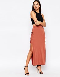 Love Skirt With Lace Up Sides Terracotta Red