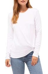 Stateside Twist Front Fleece Sweatshirt White