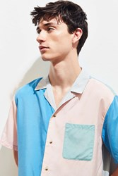 Urban Outfitters Uo Colorblocked Short Sleeve Button Down Shirt Blue