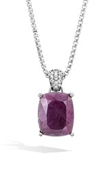 John Hardy Women's Classic Chain Diamond Pendant Necklace Indian Ruby