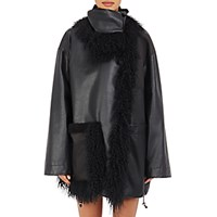 Paco Rabanne Women's Fur Trimmed Leather And Tech Fabric Coat Black Blue Black Blue