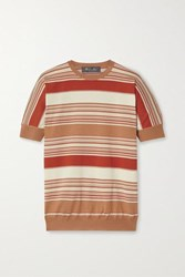 Loro Piana Giroccolo Tangery Striped Silk And Cotton Blend Sweater Red