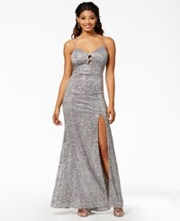 B. Darlin B Juniors' Sequined Sweetheart Gown A Macy's Exclusive Style Grey Silver