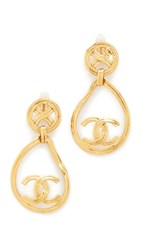 Wgaca Chanel X Circle Tear Dangle Earrings Previously Owned Gold