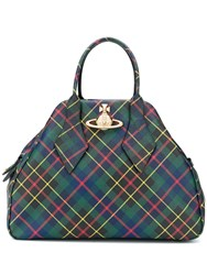Vivienne Westwood Plaid Logo Tote Bag Red
