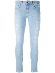 Dondup Distressed Skinny Jeans Women Cotton Polyester Spandex Elastane 26 Blue