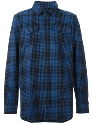 Off White Checked Shirt Blue