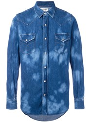 Saint Laurent Two Tone Denim Shirt Blue