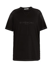 Givenchy Vintage Logo Print Cotton Jersey T Shirt Black
