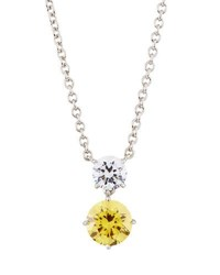 Fantasia Round Double Drop Cz Crystal Pendant Necklace Yellow