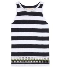 Tory Burch Jackie Embellished Striped Tank Top Blue