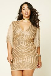 Forever 21 Plus Size Sequin Fringe Dress Gold