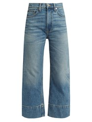 Brock Collection Beatrice Wide Leg Cropped Jeans Mid Blue