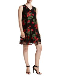 Romeo And Juliet Couture Embroidered Mesh Shift Dress Black Pattern