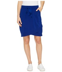 Mod O Doc Cotton Modal Spandex French Terry Crossover Hem Pull On Skirt Nautical Women's Skirt Multi