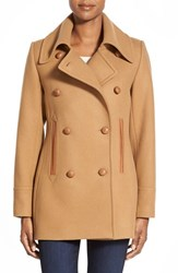 Women's Pendleton 'Cascades' Double Breasted Wool Blend Peacoat Camel
