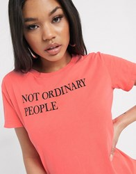 Replay Slogan T Shirt In Pink Red